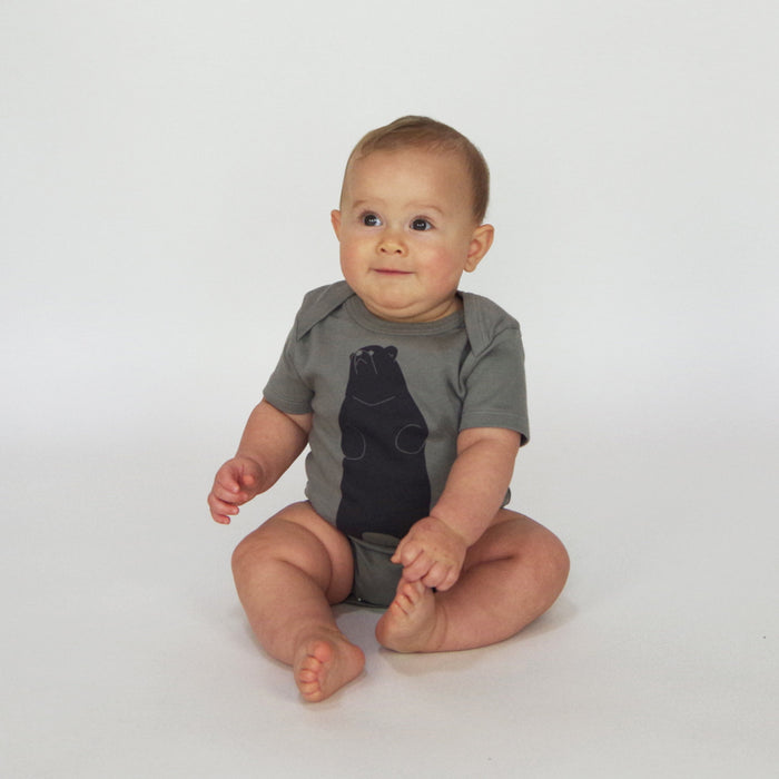 Organic Baby Clothes | Bear Bodysuit | Unisex Clothes | Hand Printed Clothing | Little Brown Bear | Gender Neutral