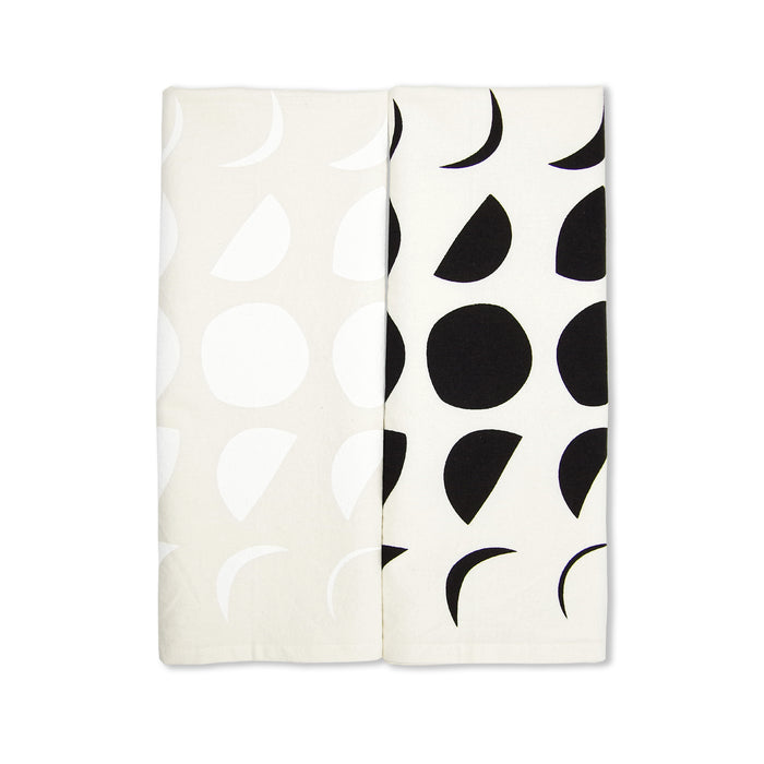Moon Phase Bundle Pack Organic Tea Towels Set of 2 - Black + White