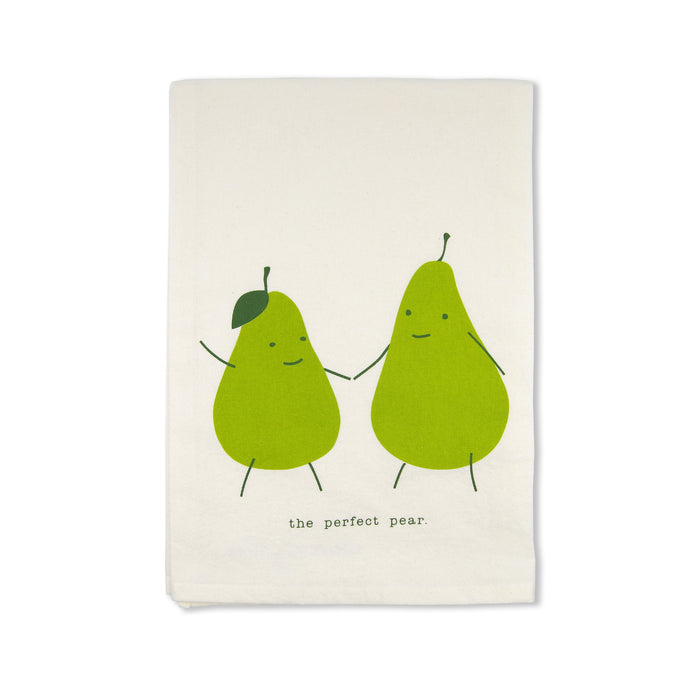 funny kitchen towels with sayings pun perfect pear organic cotton handmade