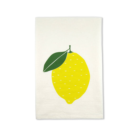 organic lemon yellow tea towel gift idea handmade screenprinted