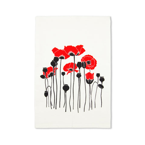 Red Poppies All Natural Flour Sack Tea Towel