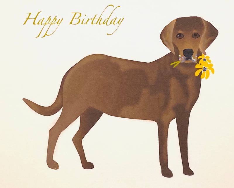 Lab Dog with Flowers -  Loose Card