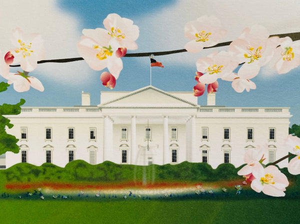 White House with Cherry Blossom Branch