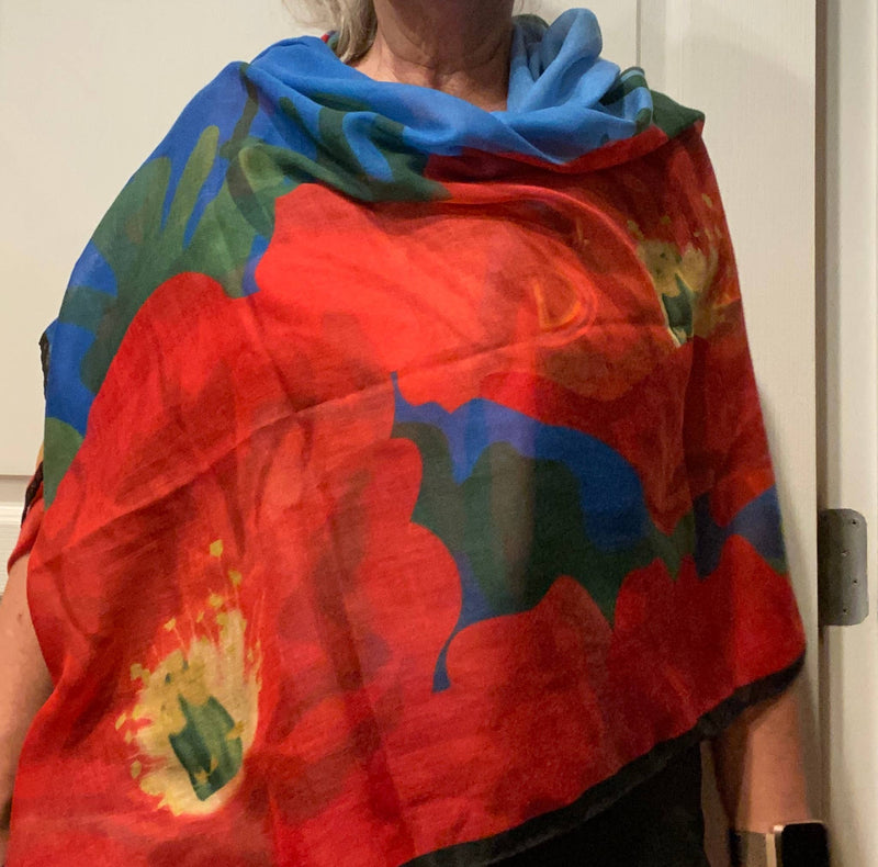 Iceland Poppies Rectangular Scarf with O'Keeffe Quote