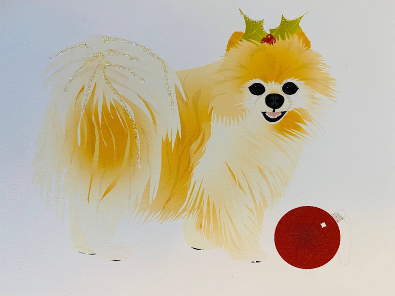 Christmas Pomeranian Dog, Holiday Card