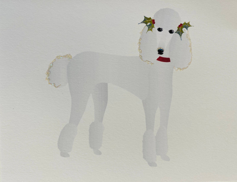 Christmas Standing White Poodle Dog