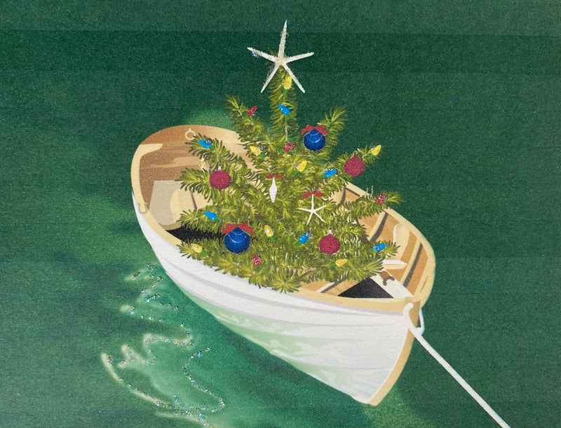 Christmas Dory Boat in Water