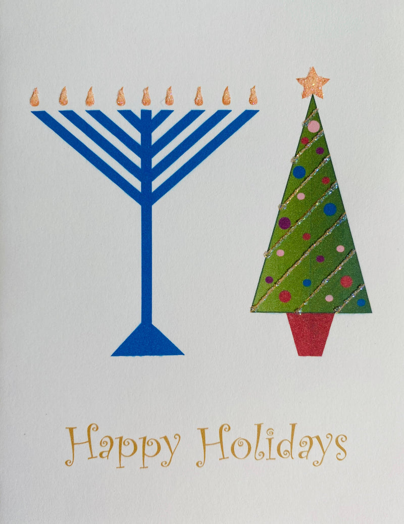 Menorah and Tree - Boxed Note Cards, Handmade Note Cards