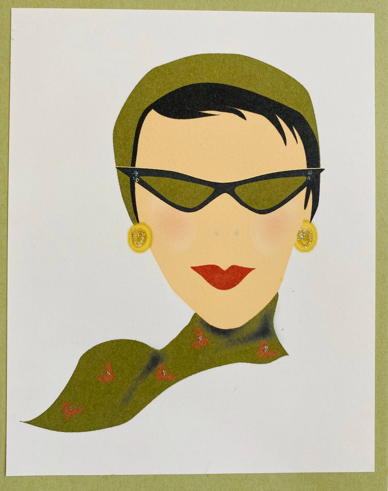 50's Gal with Glasses - Boxed Note Cards, Handmade Note Cards