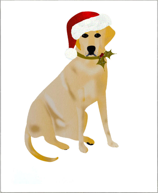 Yellow Labrador Dog Handmade Christmas Card