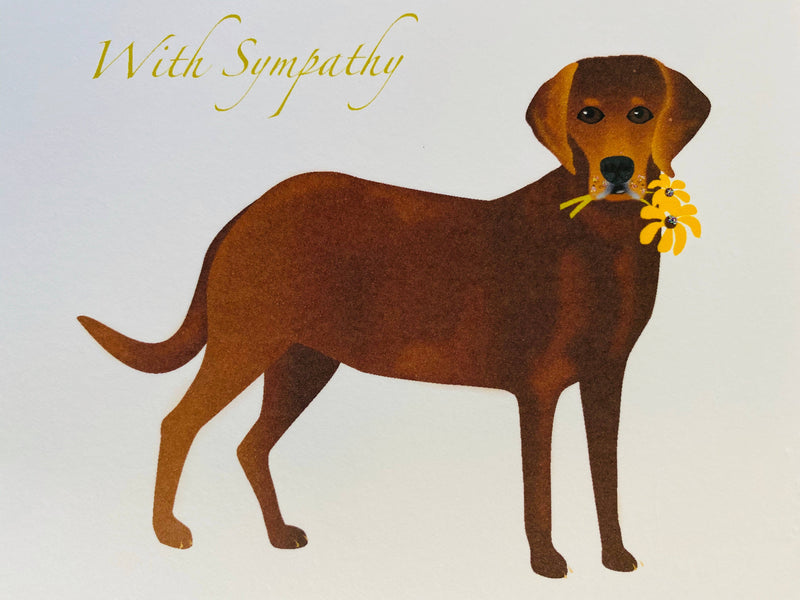 Lab Dog with Flower Sympathy Card