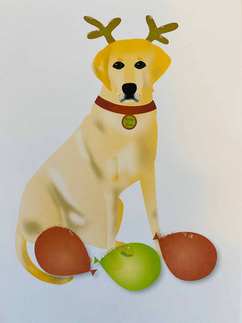 Christmas Yellow Lab Dog + Antlers, Holiday Card