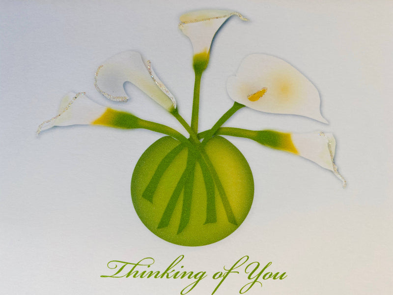Lillies in Vase, Thinking of you Card