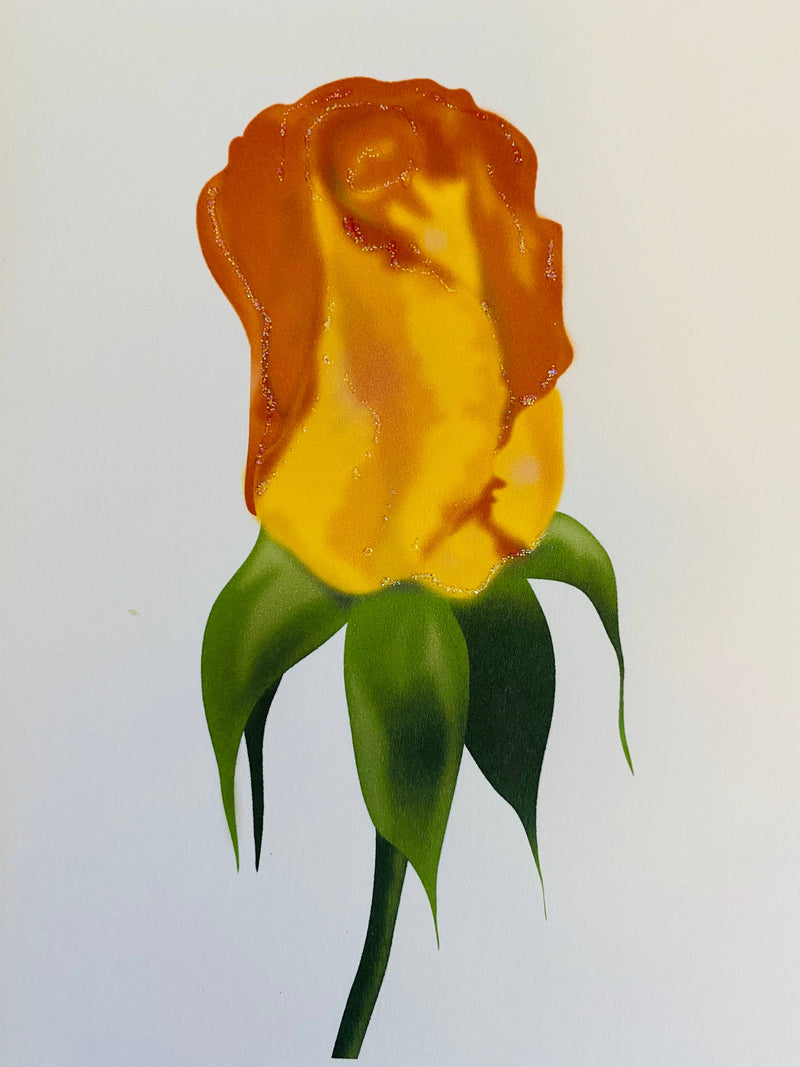 Orange Rosebud Flower, Everyday Card