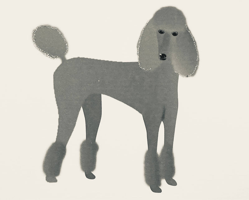 Silver Standing Poodle Dog - Boxed Note Cards