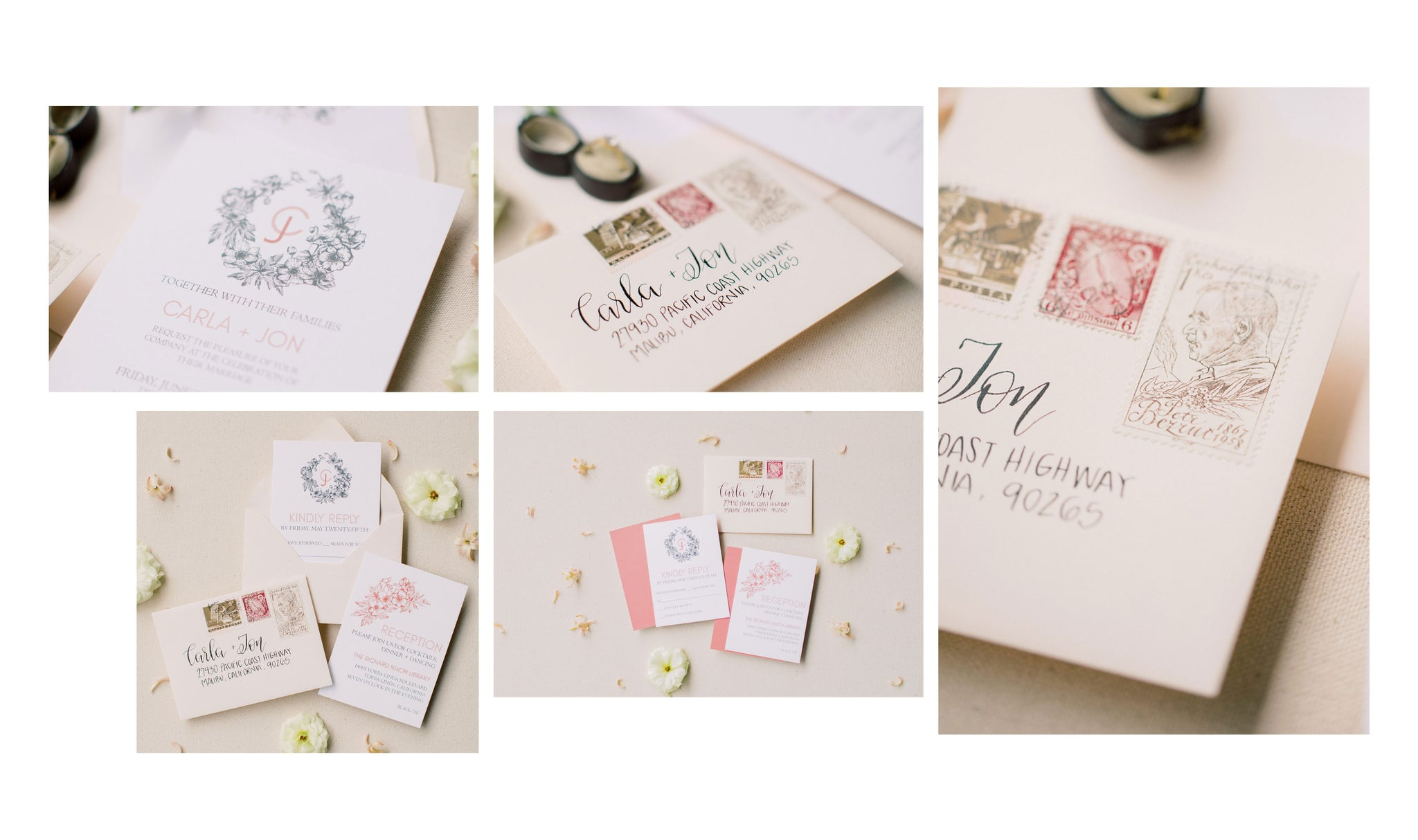 blush wedding invitation with vellum wrap and wax seal by fioribelle