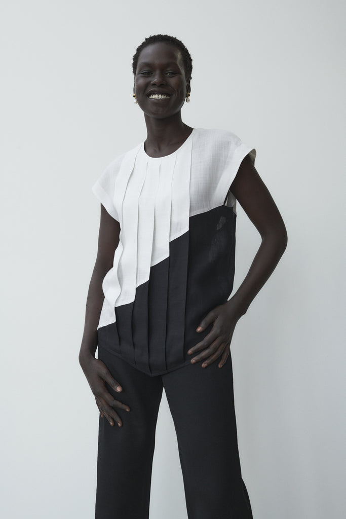 Black and White Linen Pleated Blouse