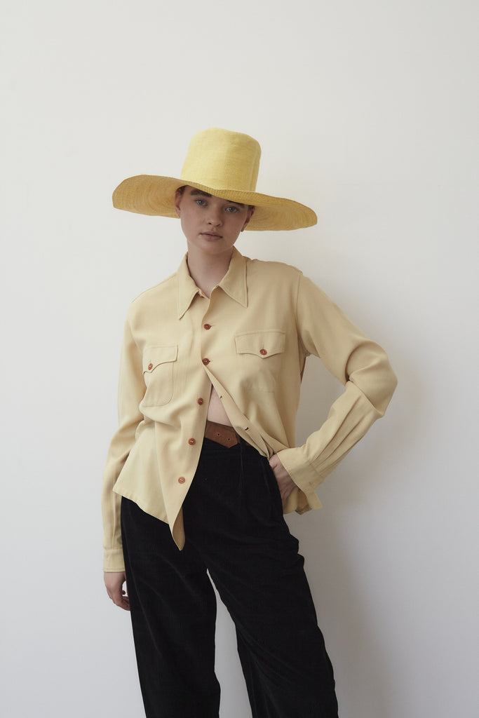 1960s Japanese Woven Hat- Yellow
