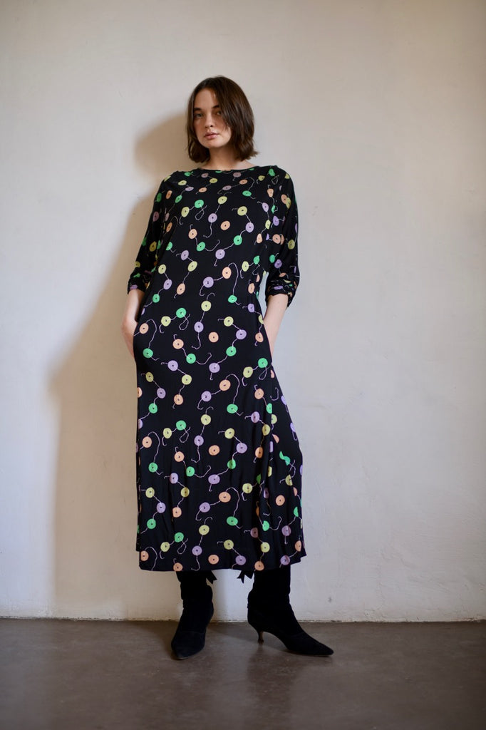 Vintage Printed Silk Jersey Dress
