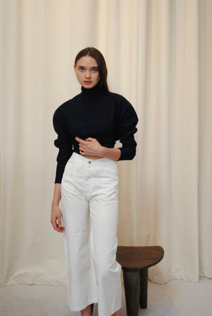 Navy Wool Blouse