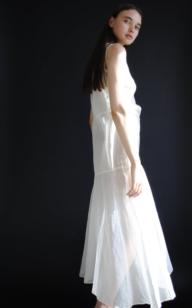 1930s Organdy White Dress