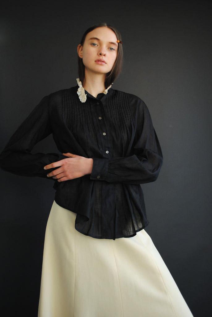 Antique Black Cotton Blouse