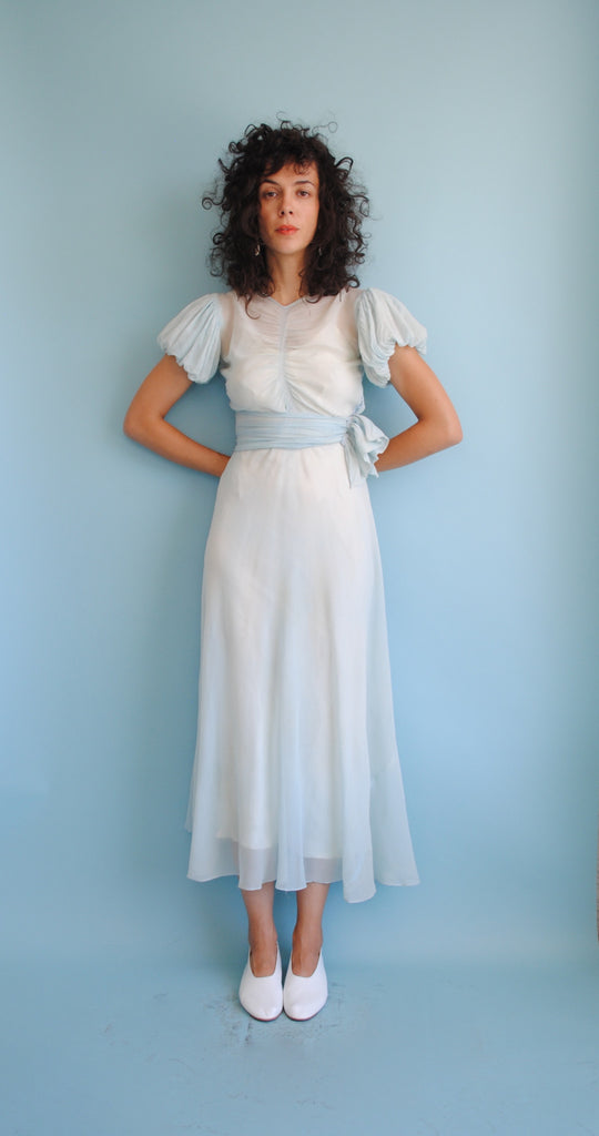 Powder Blue Silk Chiffon Dress