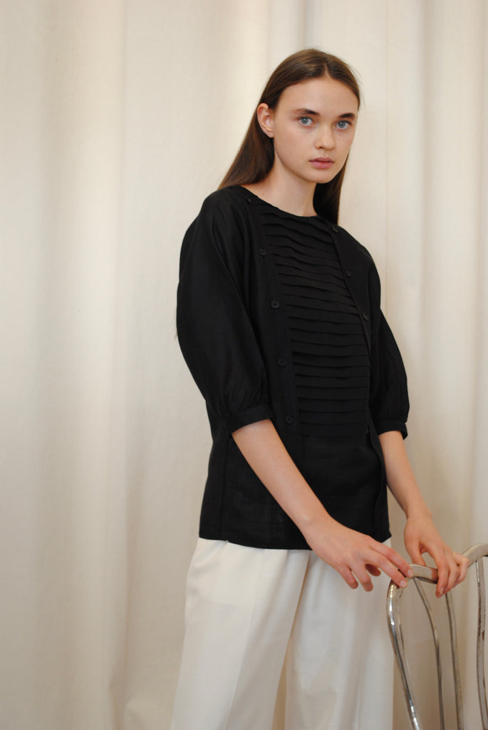 Pleated Linen Blouse