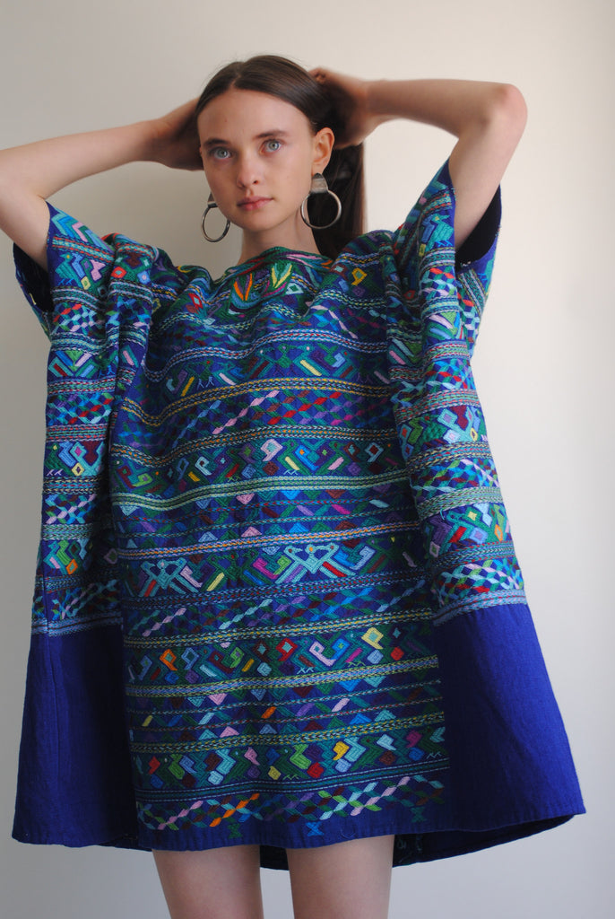 Embroidered Blue Huipil