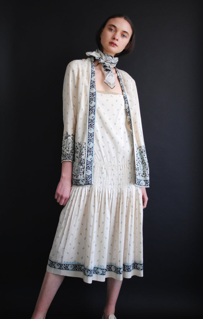 1920's Patterned Silk Dress