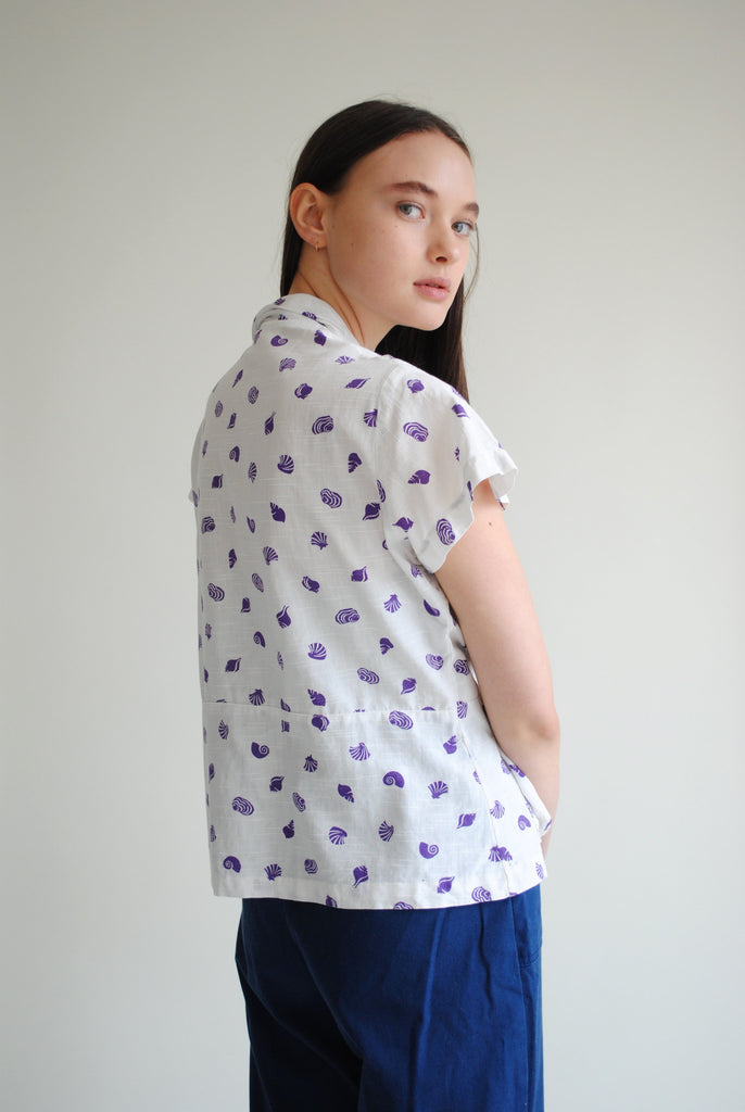 1940's Shell Print Blouse