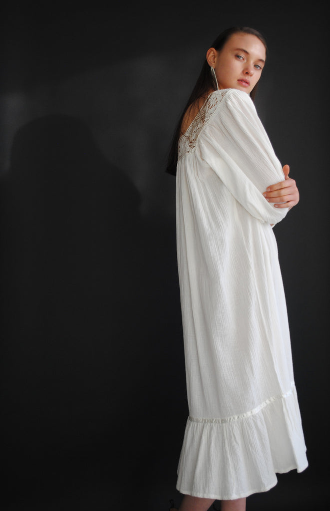 Smocked White Gauze Dress