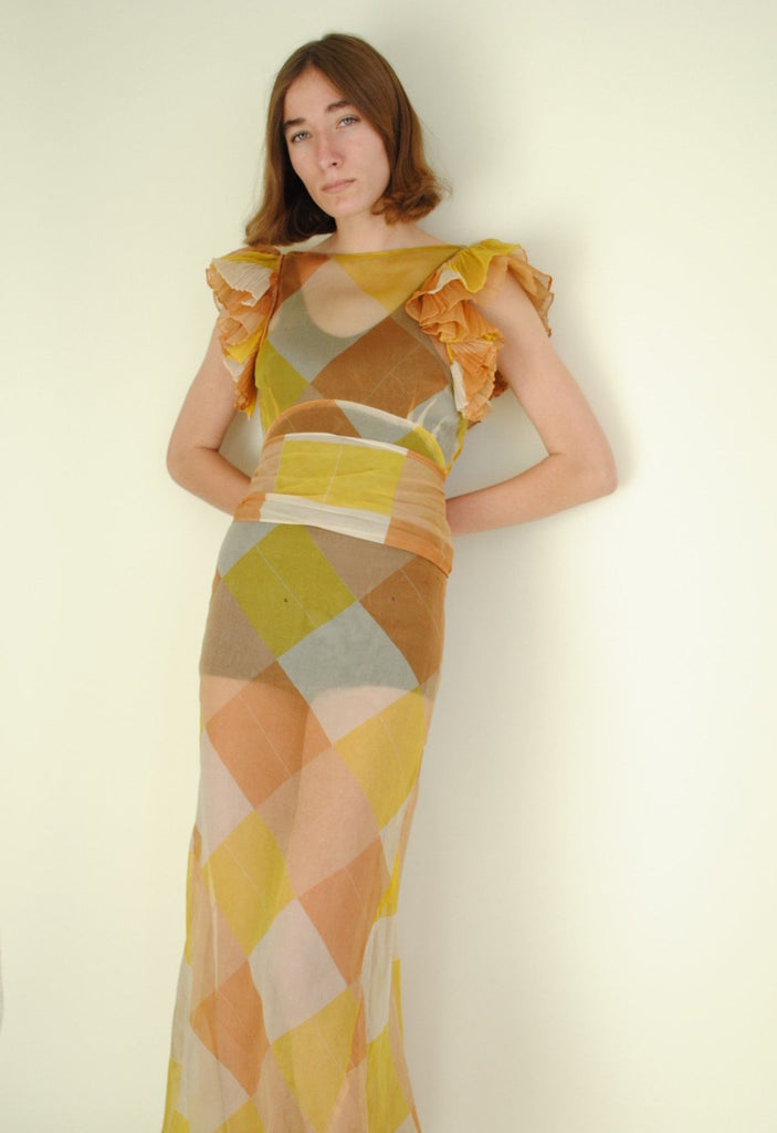 1930's Printed Checkerboard Dress