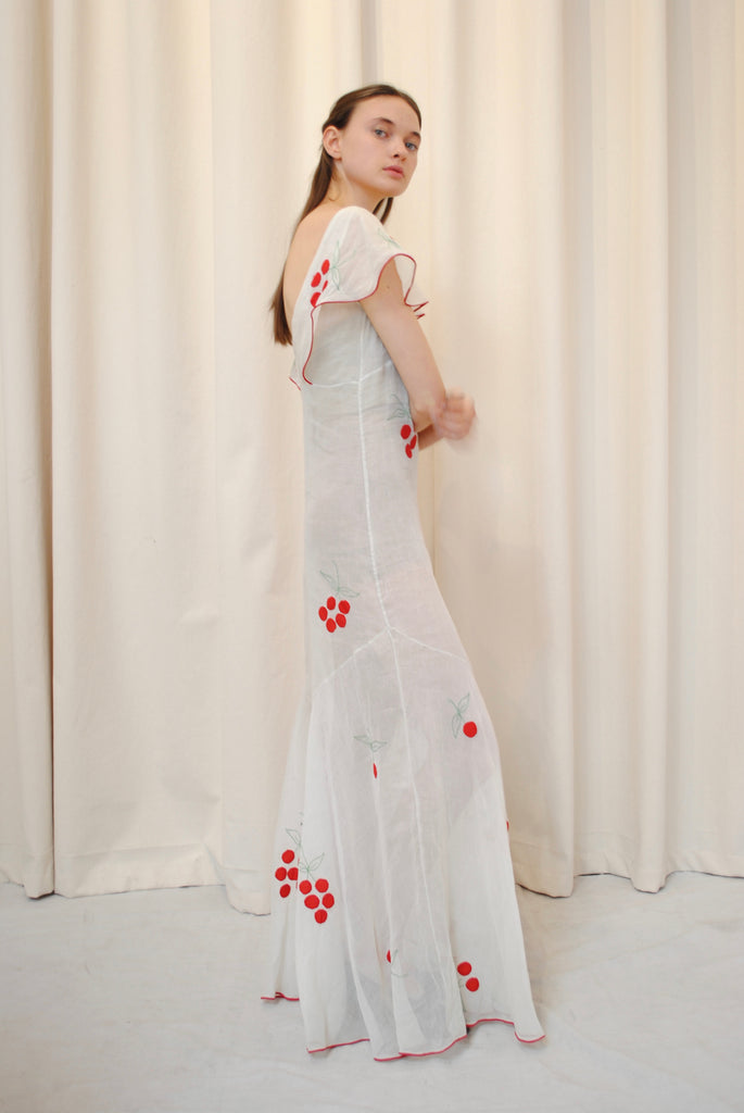 1930's Cherry Print Gown