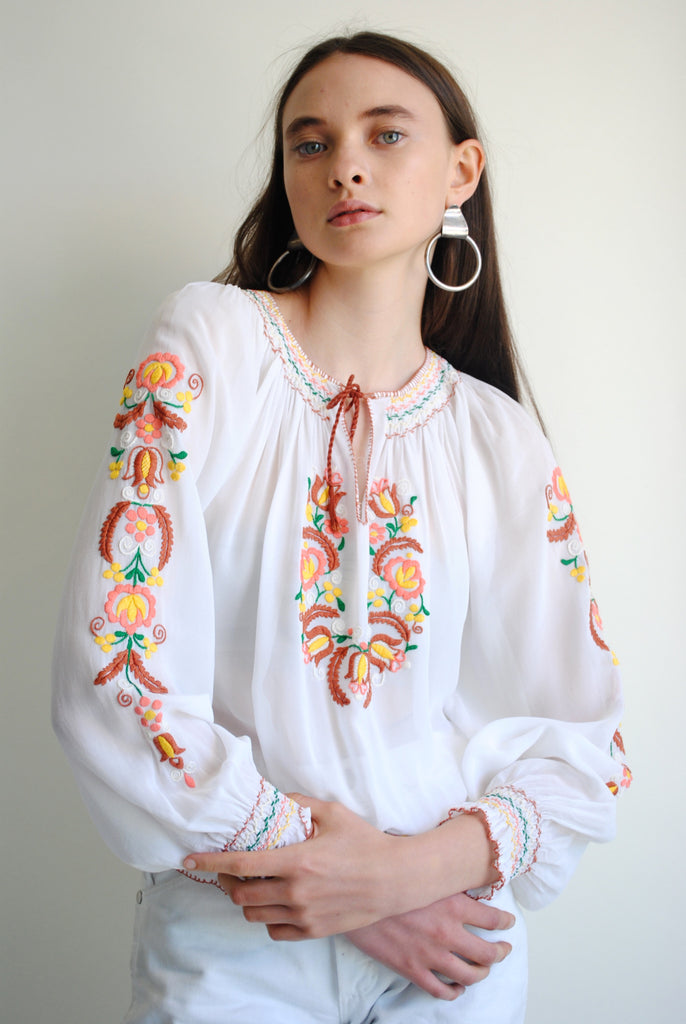 Embroidered Silk Peasant Blouse