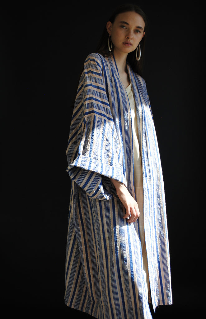 1920s Cotton Striped Duster