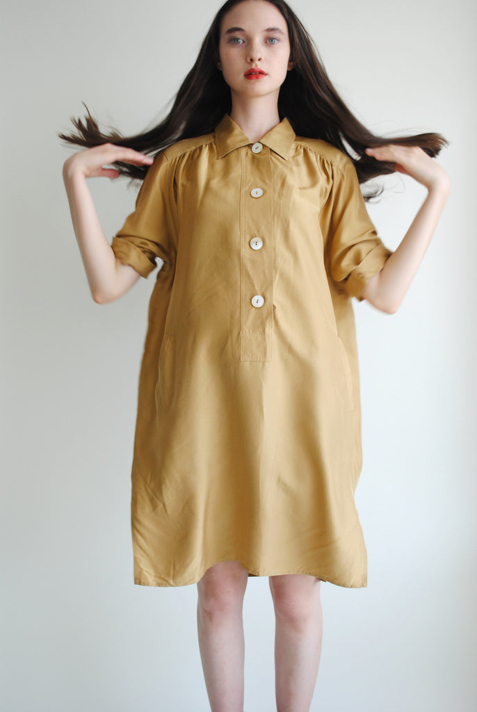 Mustard Silk Shift Dress