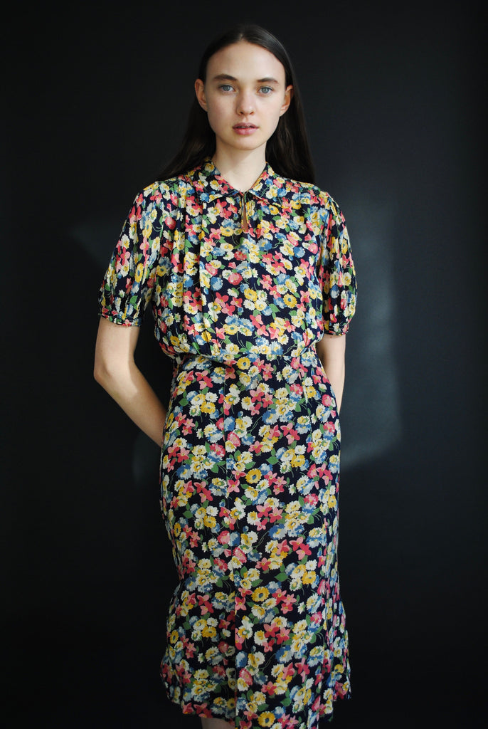 1930's Floral Day Dress