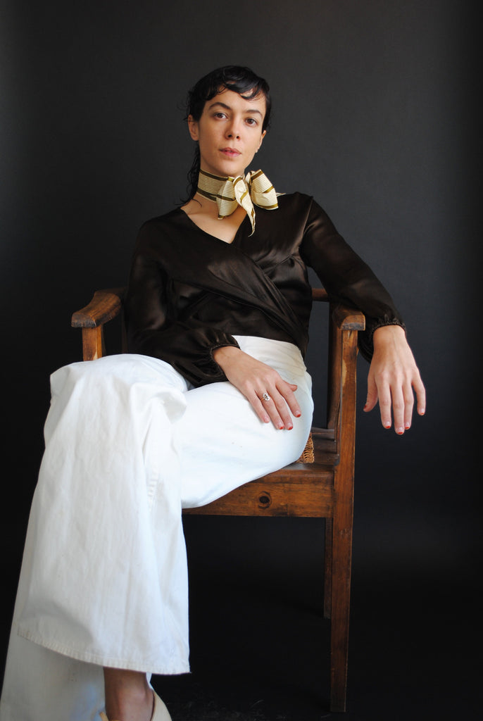 1930's Brown Silk Wrap Blouse