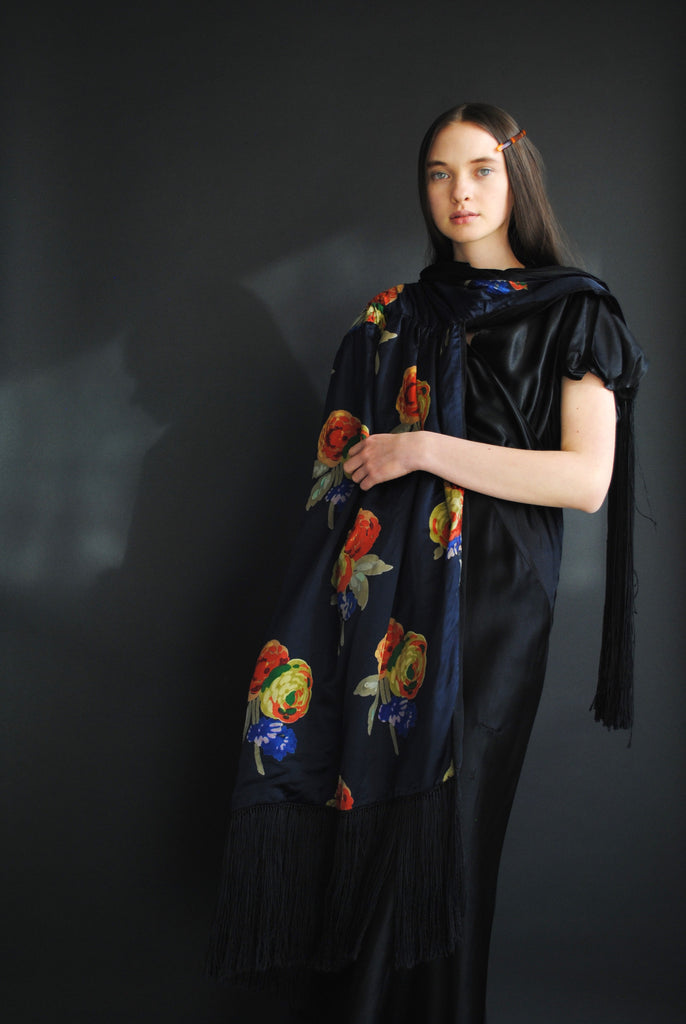 1920's Printed Silk Cape