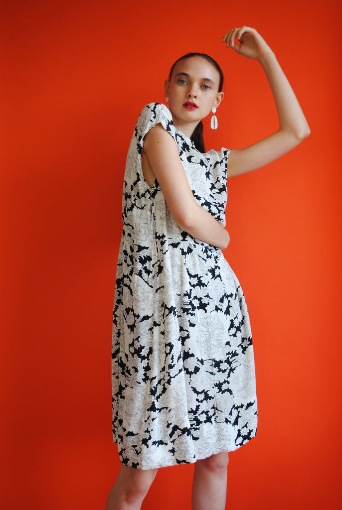 1940's Black and White Day Dress