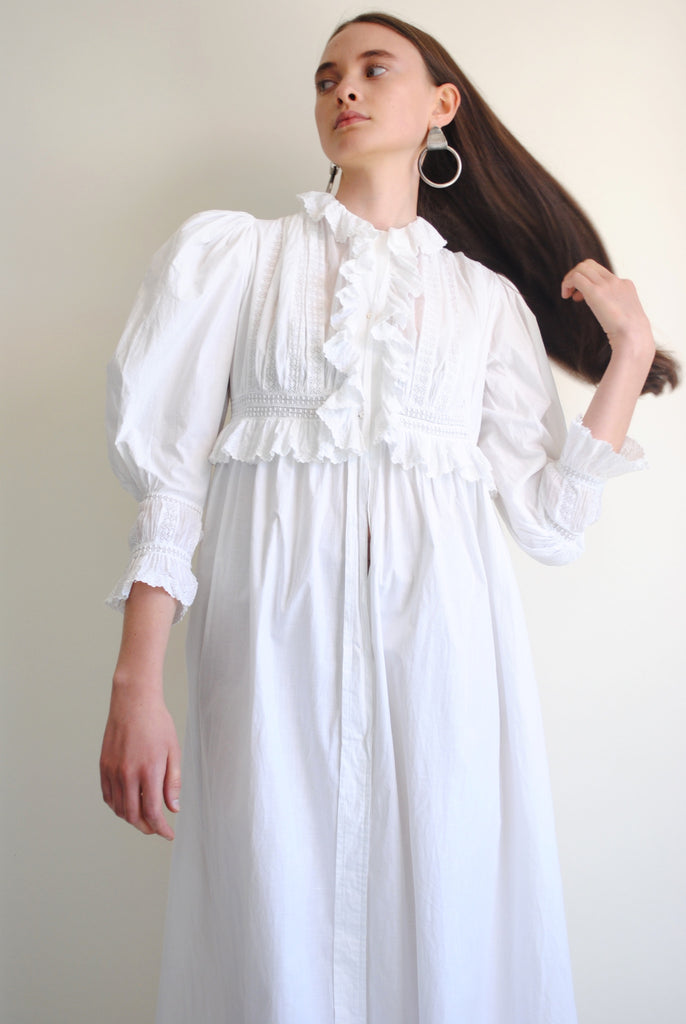 Antique Cotton Ruffle Dress