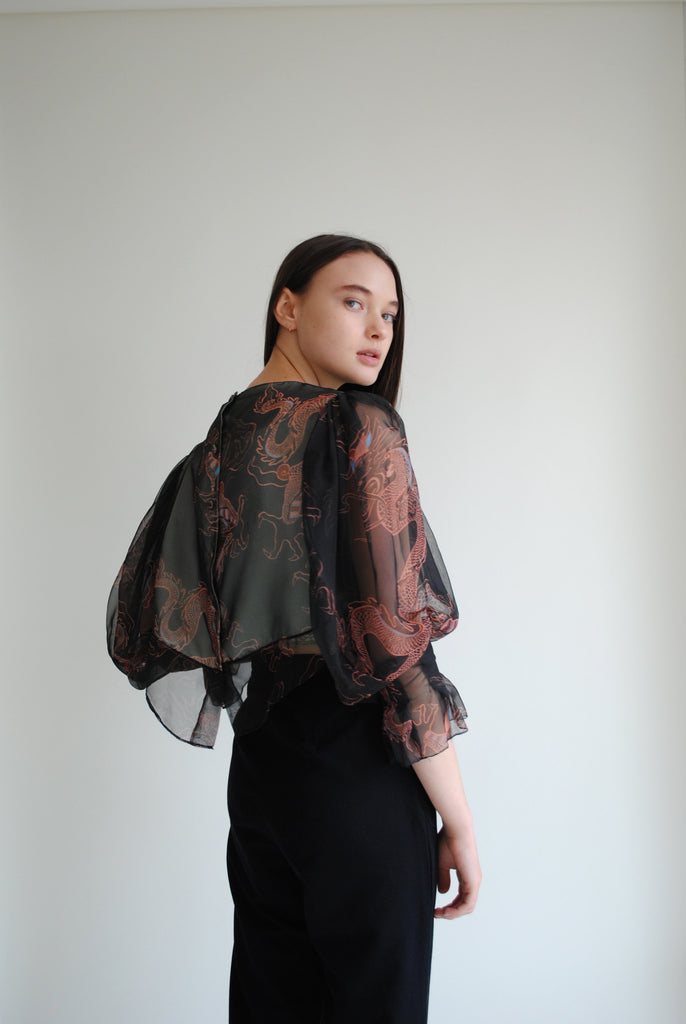 Silk Dragon Print Blouse