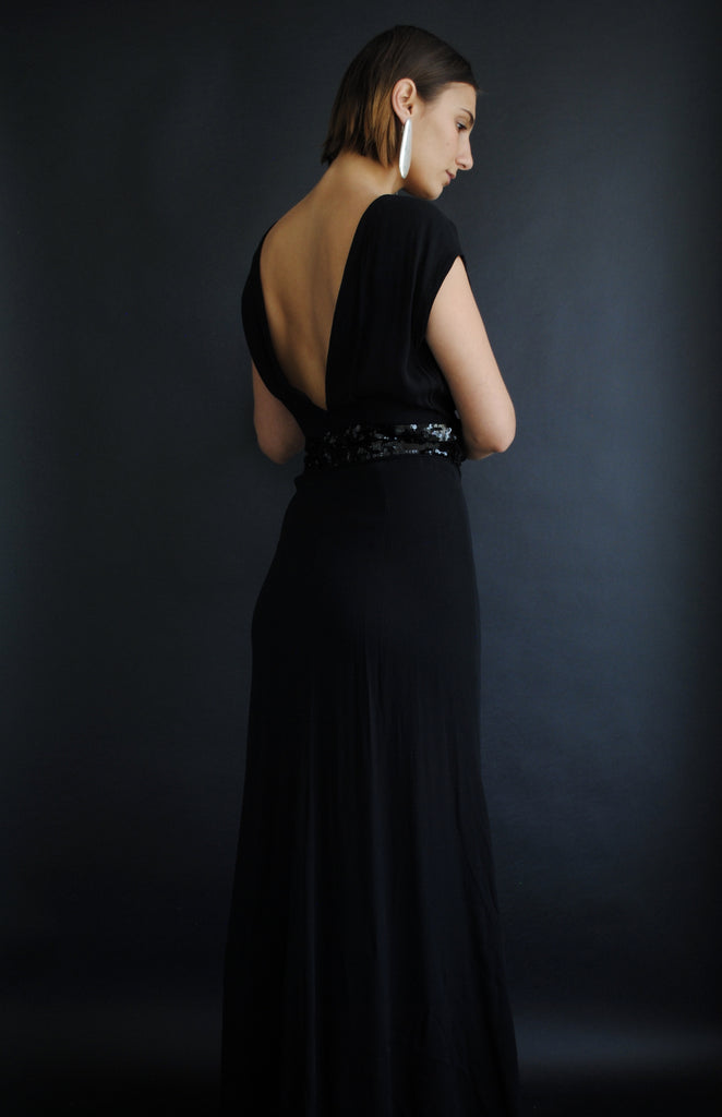 1930's Black Crepe Gown