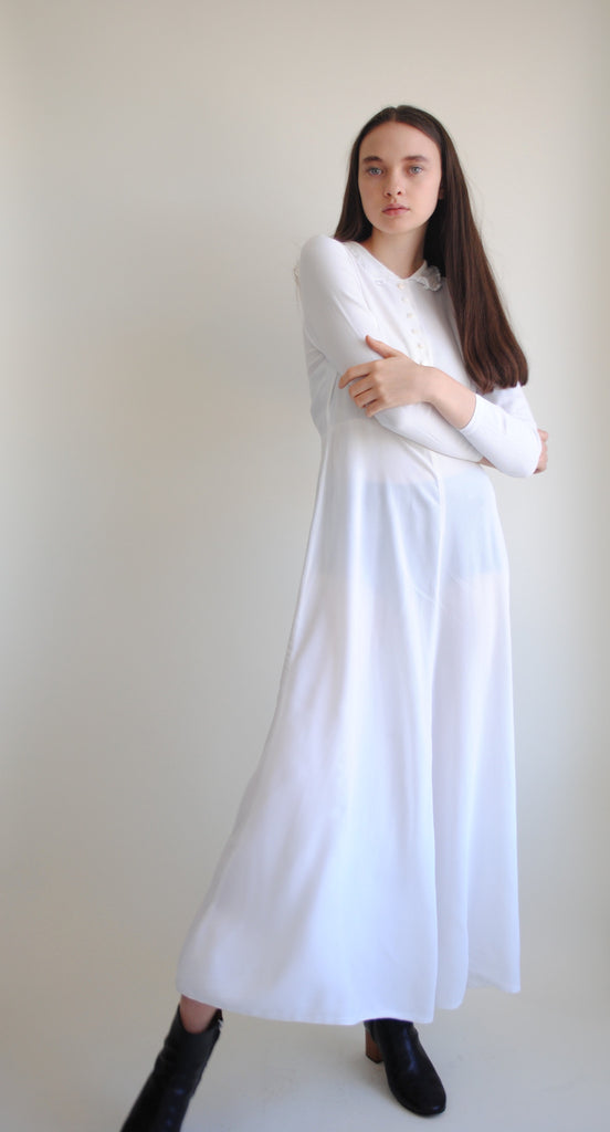 1940's White Crepe Dress
