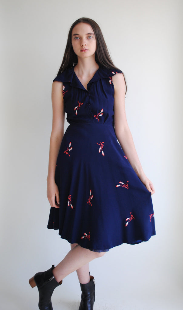 1940's Ballet Slipper Printed Dress