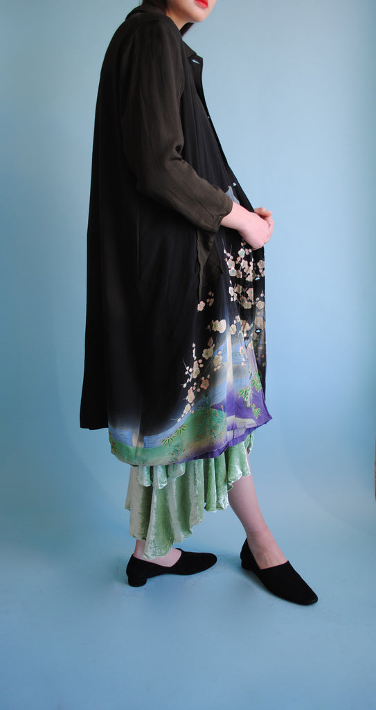 Art Deco printed and embroidered coat