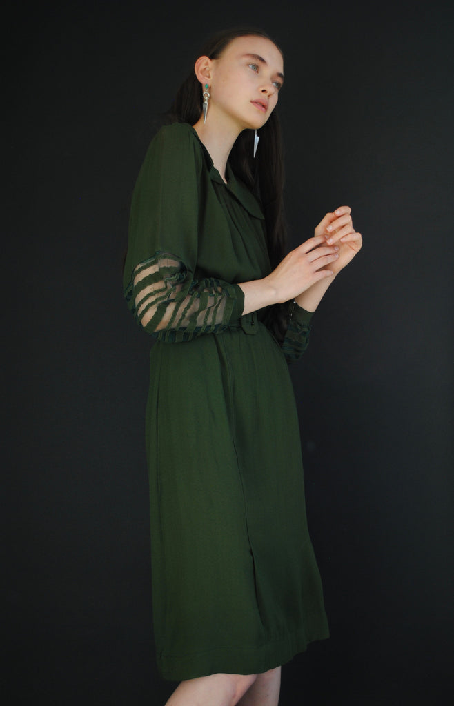 1940's Forest Green Net Dress
