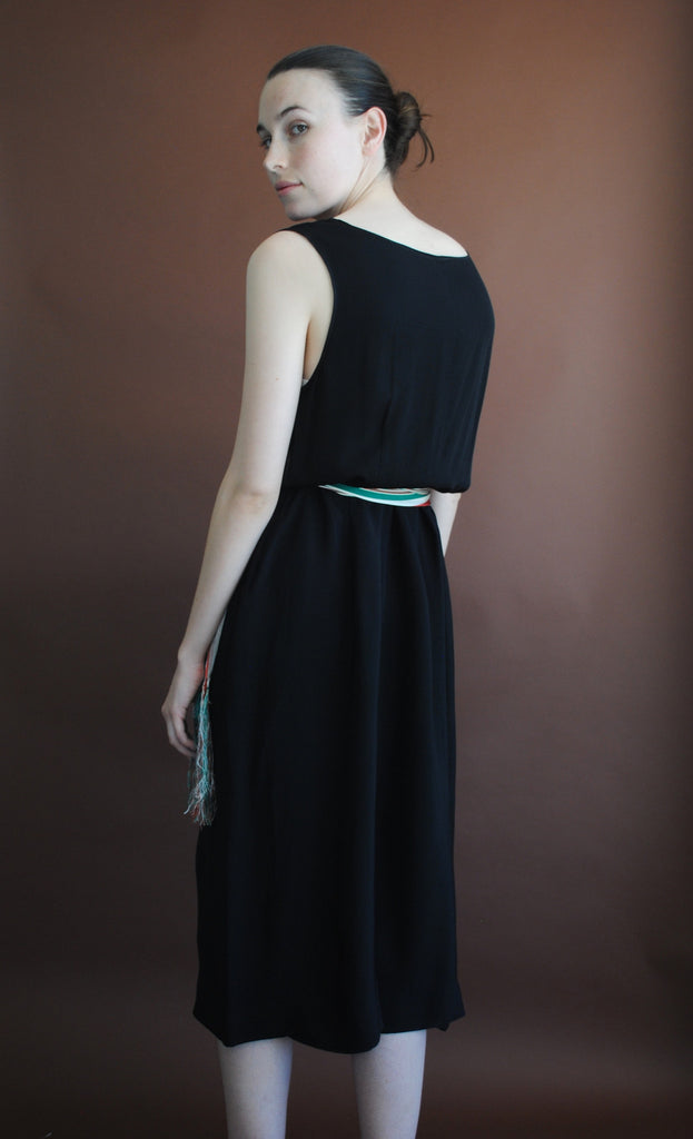 1930's Black Silk Dress