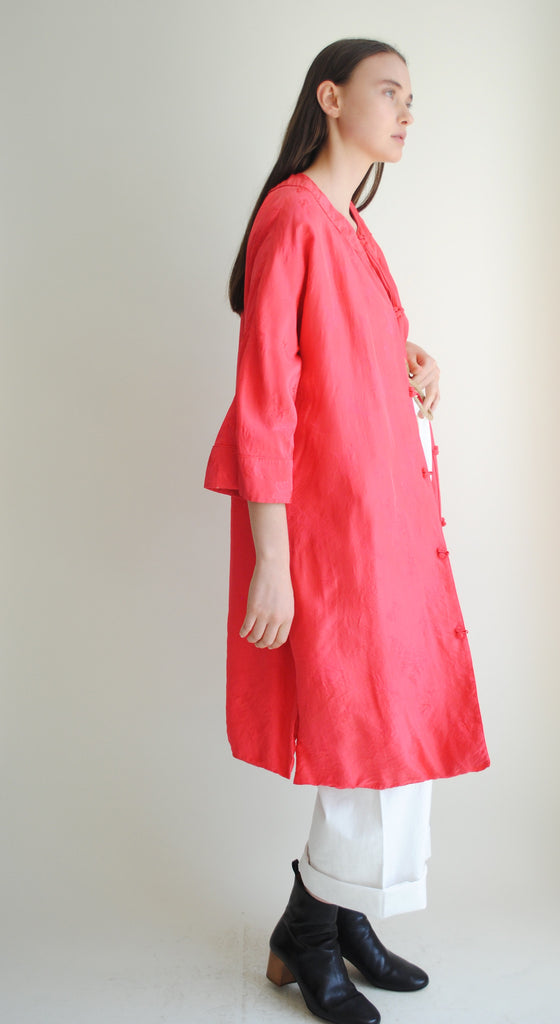 Poppy Silk Swing Coat